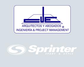 Logotipos de Cue Arquitectos y Abogados y Sprinter